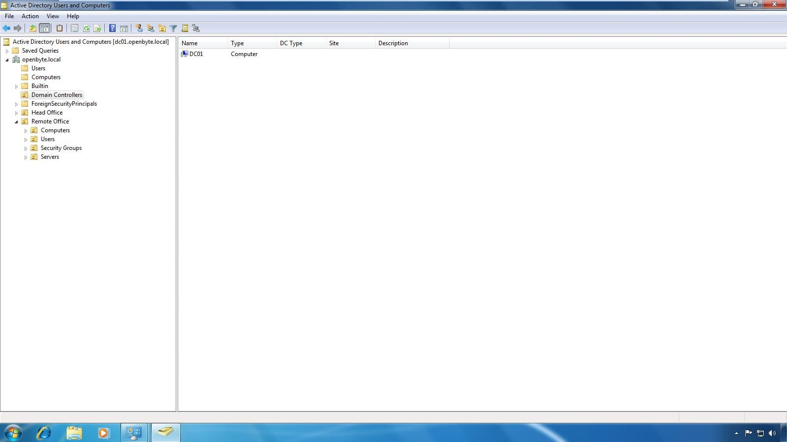 Screenshot showing the Domain Controller in the domain: