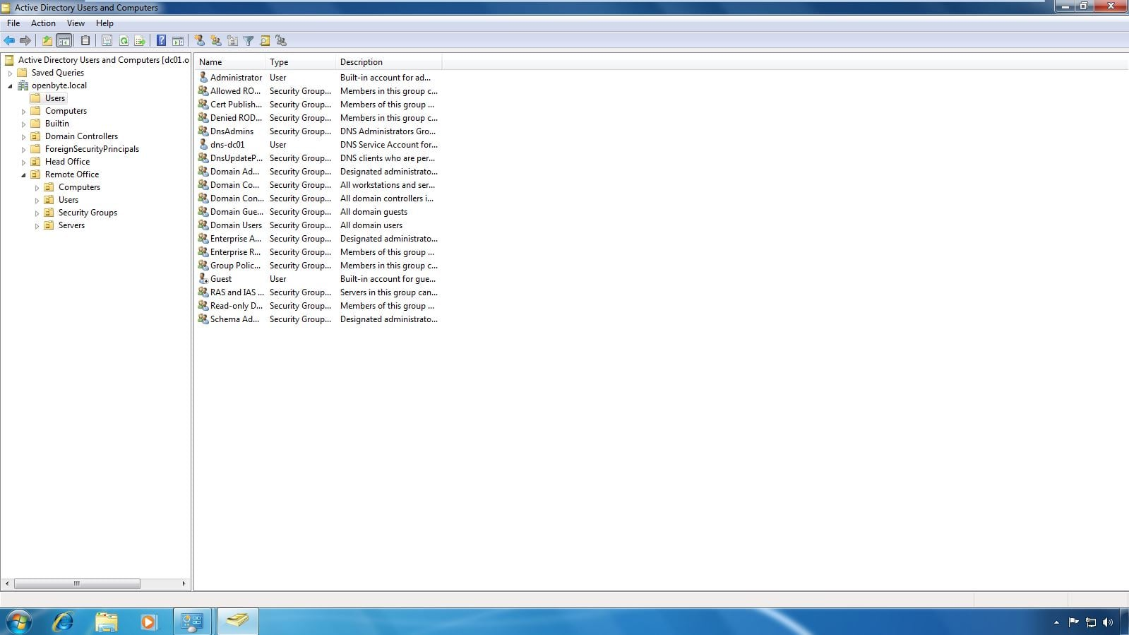 Screenshot showing the default Active Directory users: